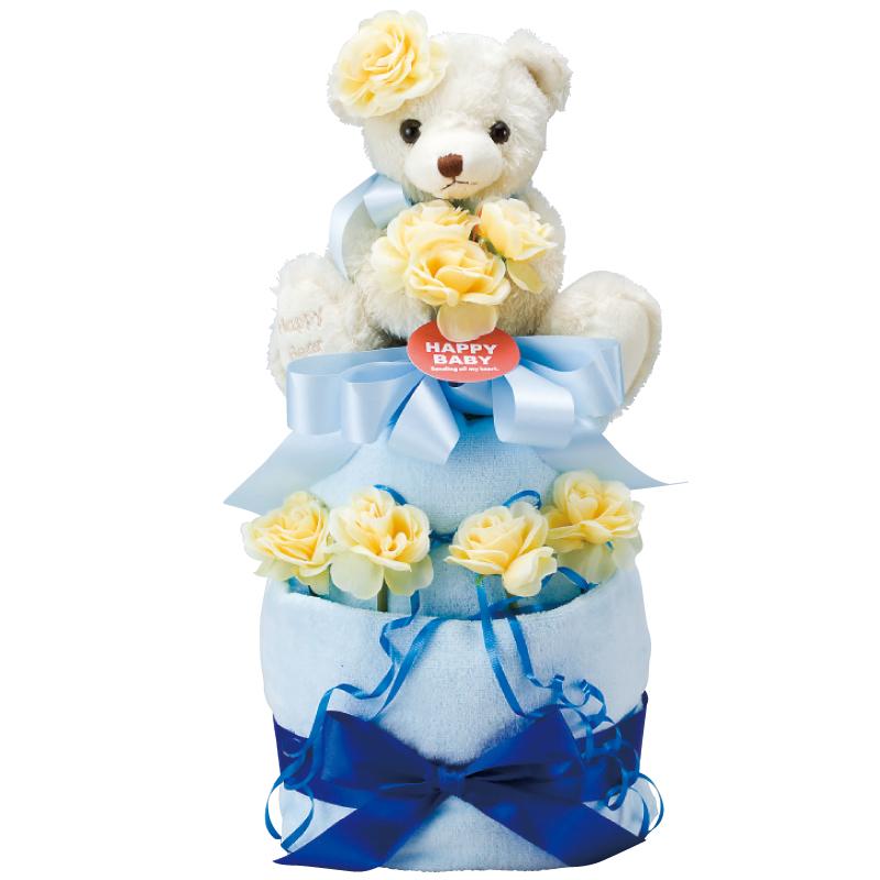 HAPPY BABY テディベア&フラワーおむつケーキ2段